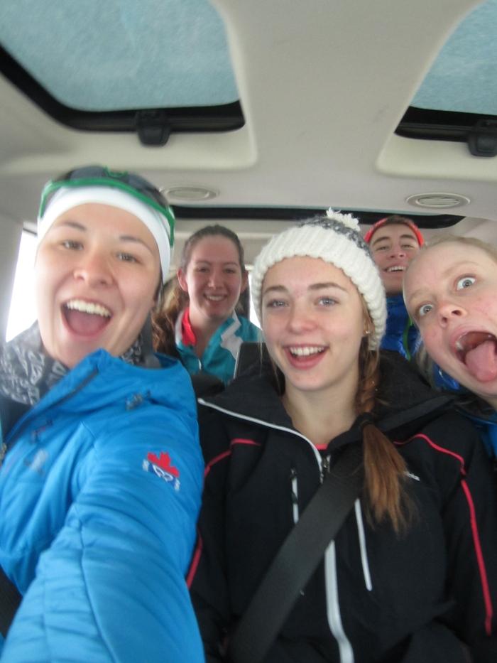 Van selfie! L-R Me, Holly, Alyssa, Maks, Sadie
