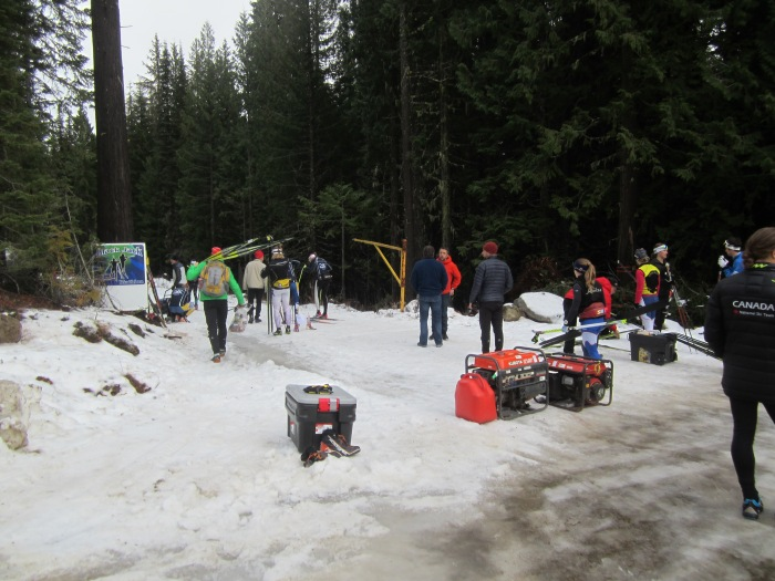 The biathlon trailhead at Black Jack - the stadium is ~150m in