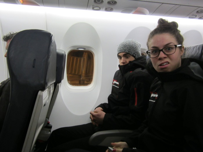 Evan and Alannah on our flight to Toronto