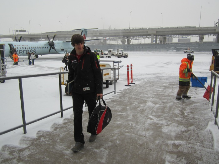 Benny deplaning at Pearson