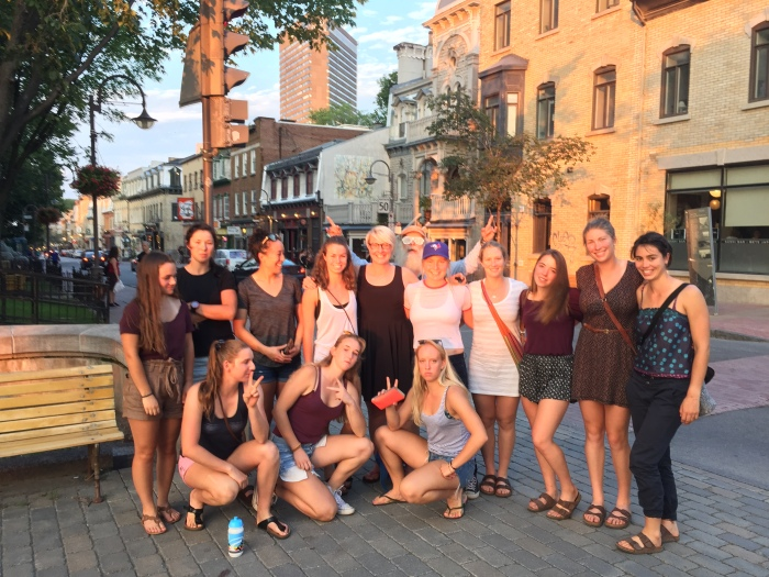 Obligatory photo after a long paragraph - group shot from our evening in Quebec City (Pav)