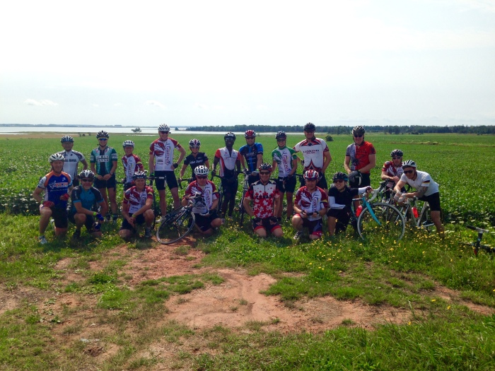 Quick stop for a group shot during Sunday's ride